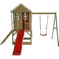 Casita infantil de madera en plataforma con columpios individuales para exteriores ,Niños de tipo abierto talla M Casa de aventura nórdica