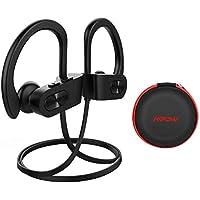 Mpow Auriculares Bluetooth Deportivos, V4.1 Impermeable IPX7 In-Ear Cascos Inalámbricos,Auricular Running Deporte Correr con Micrófono,Cancelación de Ruido CVC 6.0 para iPhone(Negro con EVA Bolsa)