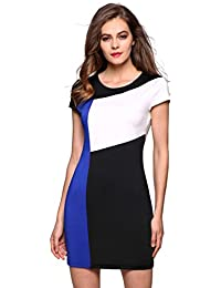FINEJO Ladies Women Cap Sleeve Patchwork Bodycon Party Slim Dress