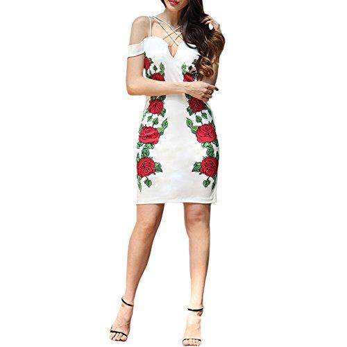 Meijunter Kleider Damen Elegant Beleg-Kleid Blumen Drucken Casual Ärmellos Slim Fit Abschlussball Cocktail Kleider Sommer Weiß