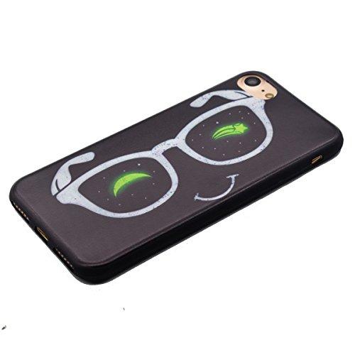 iPhone 7 Hülle,Transparent Silikon Bumper für iPhone 7,Ekakashop Ultra dünn Slim Modisch Durchsichtig Finger Muster Weiche Silikon TPU Flexible Gel Crystal Back Case Defender Protective Schutzhülle mi Brille