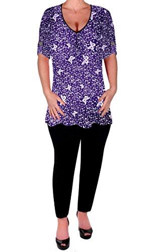 Eyecatch - Aspen Femmes Imprimé Chemisier Décontractée col en V Tunique dames Plus Size Flared chemisiers longue Violet