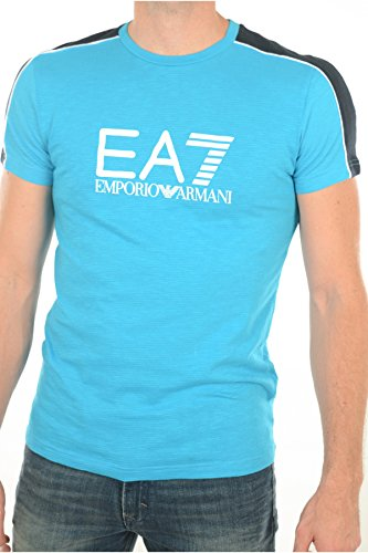 T SHIRT TURQUOISE COL ROND COTON AJOURE- EA7 - Turquoise - Homme