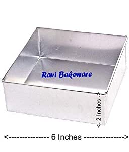 Ravi Bakeware Aluminium Square Cake Mould/Square Cake Pan/Square Cake Tin/Square Tray - 6 inches