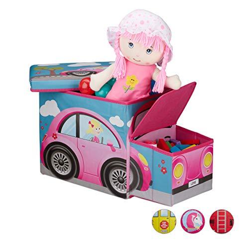Relaxdays Sitzhocker Kinder, Spielzeugkiste mit Fach, faltbar, Motiv Auto, Stauraum, Jungen und Mädchen, 50 Liter, pink -