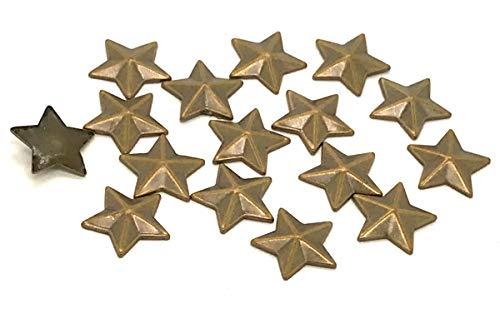 EIMASS® Hot-Fix-Metallnieten, Sternform, zum Aufbügeln, zum Verzieren von Taschen, Schuhen, Kostümen, - Brass / Bronze Star Studs - Größe: 13mm