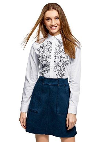 oodji Ultra Damen Druckhemd aus Baumwolle, Weiß, DE 32 / EU 34 / XXS