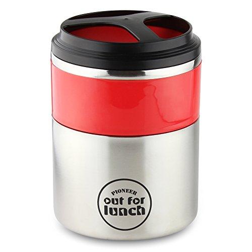 Pioneer Thermo-Speisebehälter 1,5 L Edelstahl Doppelwandig 2-in-1 mit Extra Breiten Öffnung, Isolier Lunch-Box für Suppe/Essen 4 Stunden Heiß 8 Stunden Kühl Auslaufsicher BPA-Frei - Rot/Schwarz