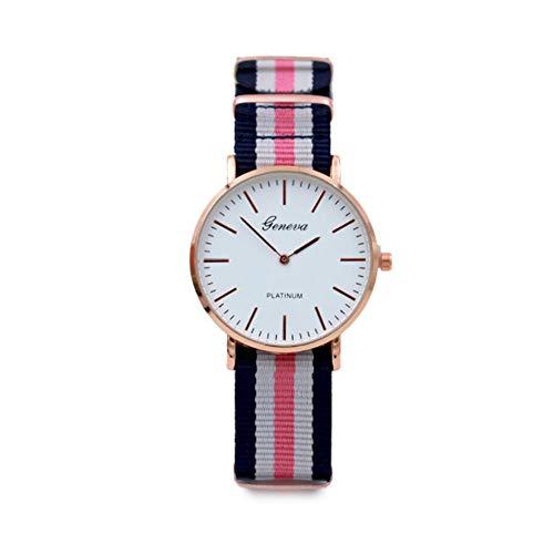 Sungpunet orologio da polso in cinturino analogico con cinturino in quarzo analogico cinturino da polso in nylon colorato con cinturino da 7 lancette (bianco e nero rosso)