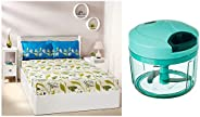 Amazon Brand - Solimo Vegetable Chopper (Large, 725ml) & Lily Bloom 144 TC 100% Cotton Double Bedsheet wit