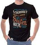 Shirtdepartment - Herren T-Shirt - Lederhose - Ich Bin nur zum Saufen Hier schwarz-braun L