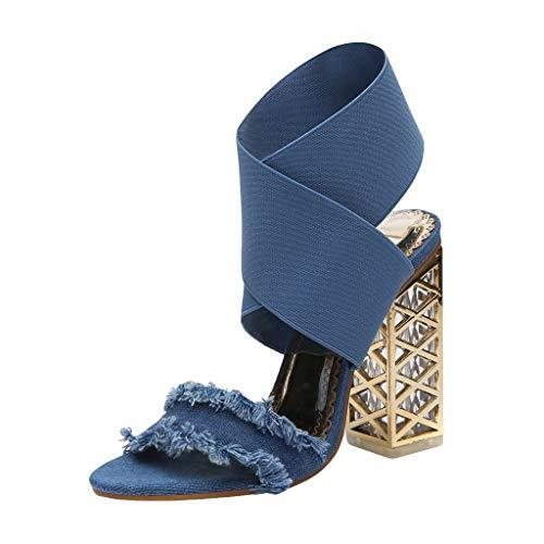 Damen Sommer Denim hochhackige Sandalen, Mode Peep Toe Crossover Strap Slip-On Sandale Block klobige High Heels Schuhe für Party Club Abend - Denim Peep-toe