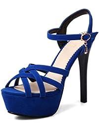 GLTER Bombas de la correa del tobillo de las mujeres de la venda de la venda fina Sandalias de tacón alto , blue , 35