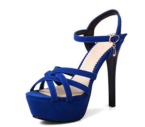 Cinturino alla caviglia delle donne delle pompe di combinazione sottile banda Sandali con tacco Blue
