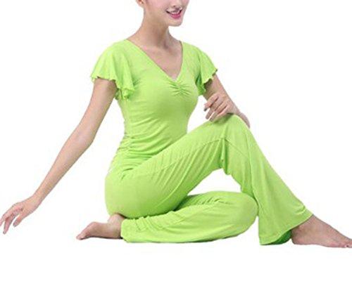 Femme Yoga Ensembles Vêtements De Tee Shirt De Sport Yoga + Pantalons Gym Sport Yoga Vert