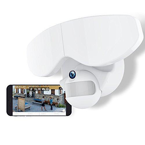 Netvue Smart LED Floodlight Kamera Motion-Aktivierte Sicherheit WiFi Kamera 720p Zwei-Wege-Audio und Message Alarm, Weiß (2 Scheinwerfer) - Arbeitet mit Alexa Echo Show (Floodlight Kamera)