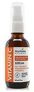 Siero Vitamina C Viso 20% di Maritime Naturals – Siero Acido Ialuronico – da Agricoltura Biologica Certificata – Trattamento Anti Invecchiamento e Antirughe – Grande Bottiglia da 60 ml