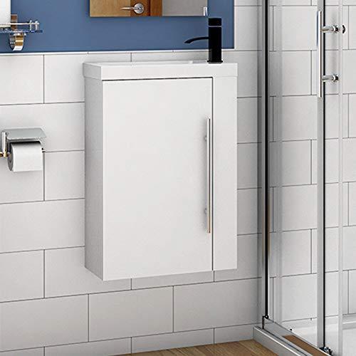 Aica Sanitär Badmöbel Set 45 cm Waschbecken mit Unterschrank Waschtisch Gäste WC kleinmöbel Weiß