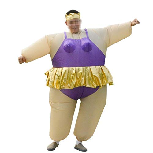 Lustige Kostüm Kreative Männer - OLLVU Erwachsene Halloween Kreative Lustige Kostüme Ballett Hula Dance Fat Man Puppen Kostüme Sumo Aufblasbare Kleidung Mall Leistung (Color : Purple)