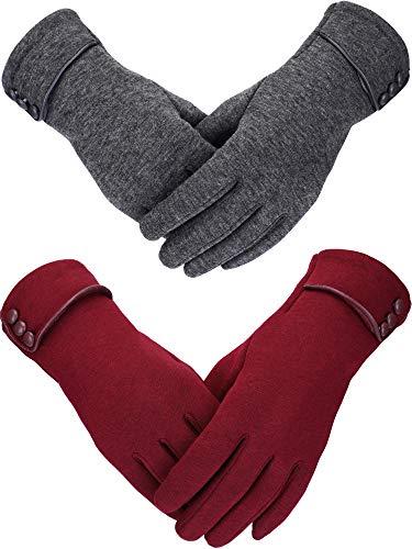 2 Paires Gants d'Hiver pour Femmes Gant en Peluche Plus Chaud Gants Coupe-Vent Doublés pour Femmes et Filles (Vin Rouge, Gris)