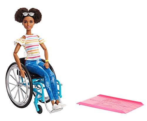 Barbie GGV48 - Rollstuhl und Puppe brünett gelenkig, Puppen und Spielzeug ab 3 Jahren