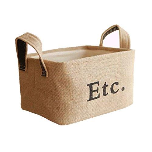Starsglowing Canasta de almacenamiento de yute con mango Cesta de ropa plegable Caja de almacenamiento sin cubrir para la ropa toallas Libros Juguetes Organizador estante del armario (S-Ect.)