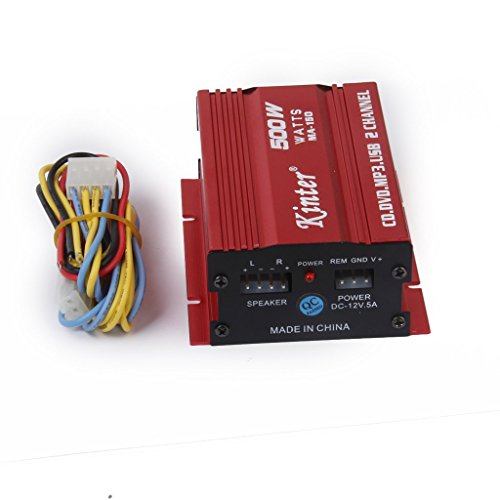 Generic Red Mini Car Motorcycle MP3 Hi-Fi Stereo Audio Amplifier with Cable Wires  available at amazon for Rs.770