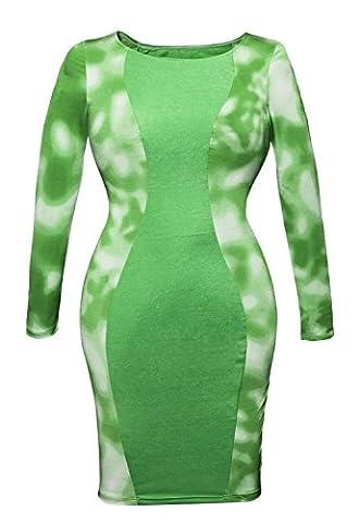 BRIGHT GRÜN Krawatte gefärbt Seiten Körper Con Mini Kleid Club Wear Party Wear Größe UK L 12