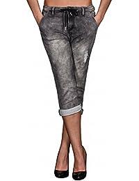 Urban Surface Damen Stretch 3/4 Jeans Capri Hose Sommer Boyfriend Shorts B453