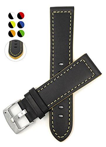Leder Uhrenarmband 20mm, Schwarz Mit Gelber Naht, Schließe Edelstahl, auch verfügbar in schwarz mit blauen, rot, orange oder grüne Naht