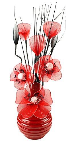Flourish 792558/Vase Blanc avec Fleurs artificielles en Nylon Bleu Sarcelle et Blanc 32/cm