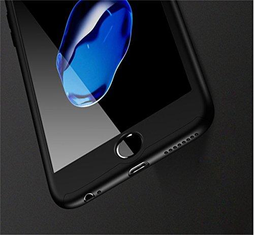 Coque iPhone 6S PLUS Coque iPhone 6 PLUS 360 Protection PC 3 en 1 Full Cover Adamark Housse Integrale Bumper Etui Case Protège Écran en Verre Trempé Pour iPhone 6S/6 PLUS Noir