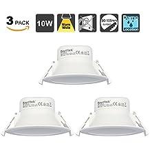 10W Lamparas Plafones Focos LED Empotrables de Techo Downlights LED Luz Calida 3000K IP44 AC100~240V Agujero del Techo Ø90-105mm Pack de 3 de Enuotek
