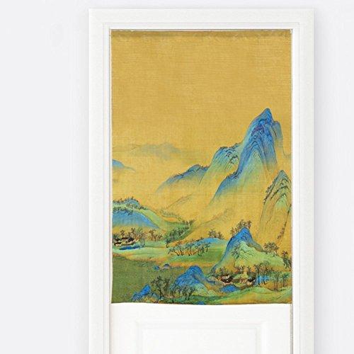 Silk Road Drucken Tür Jalousien Schlafzimmer Vorhang Chinesische einfache dekorative Vorhänge für Badezimmer Schlafzimmer Wohnzimmer Küche Partition Vorhang Gardinenstange - D 85 x 90 cm (33 x 35 Zoll) (Jalousie-schrank-türen)
