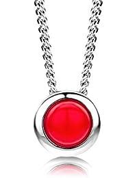 ByJoy Damen-Kette Mit Anhänger 925 Sterling- Silber Rundschliff Rot 45cm, silber(Coral)
