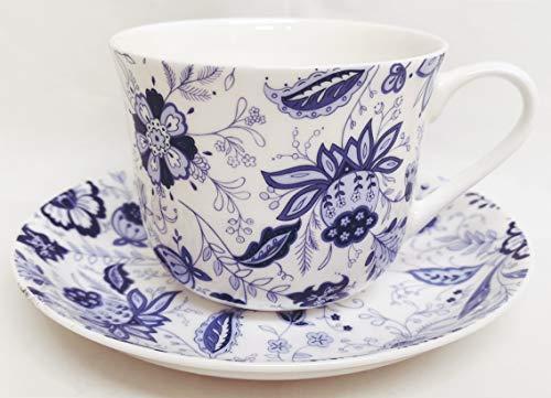 Rainbow Decors Ltd Blue Persia Frühstückstasse mit Untertasse, feines Knochenporzellan, klassisch, orientalisch, Blau/Weiß mit Blumen - Blue Chintz