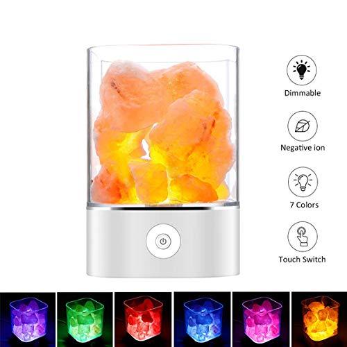 Salz Lampe Himalaya Salzkristall Lampe Nachttischlampe Dekorative Lichter Therapeutisch Salzlampe Dimmbar mit LED Salz Lampe mit Touch Helligkeit Control Funktion by Upstartech (Himalaya-licht)