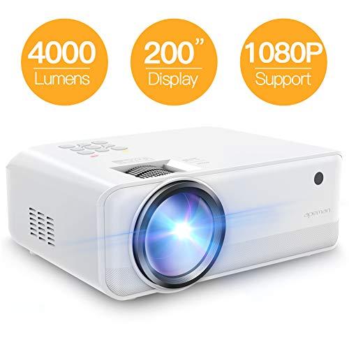 Proiettore APEMAN Portatile Videoproiettore,4500 Lumen LED Doppi Altoparlanti Incorporati 50000 Ore Cinema Domestico Compatibile 720P HDMI/VGA/SD/AV/USB Supporto Laptop/TV Box/Telefono/PS4