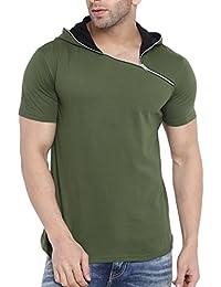 Gritstones Men's Olive Green/Black Half Sleeves Printed Side Button T Shirt-GSHSHDZIP1291OGRNBLK