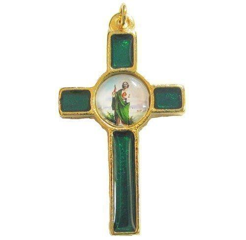 Green St. Jude katholische Rosenkranz Kreuz Kruzifix 36mm [Schmuck]