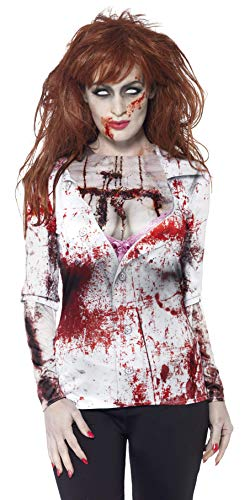 Shirt Machen Zombie Kostüm T - Smiffys, Damen Zombie Kostüm, T-Shirt mit Sublimationsdruck, Größe: M, 44372