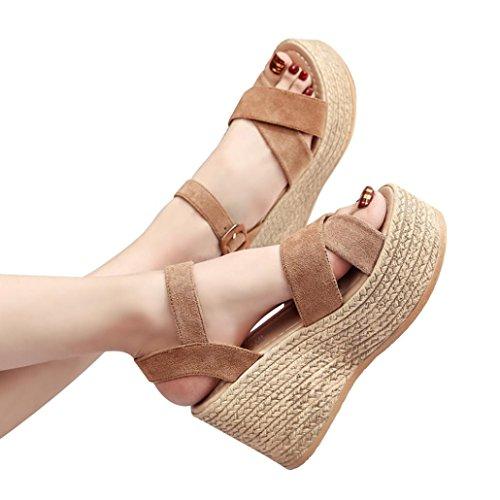 Sandalias de Vestir Plataforma Tacón Alto de Playa para Mujer, QinMM Casual Zapatos de Baño Verano Fiesta Chanclas (35, Marrón)