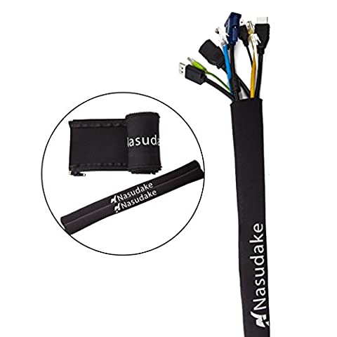 """Buy 1 Get 2 FREE Nasudake Cable Management Sleeve, 19 1/2""""L -2.0"""" W Flexible Cord Wrap with Zipper, Wire Cover Organizer System for TV, Computer, Home Management and Office (Black)"""