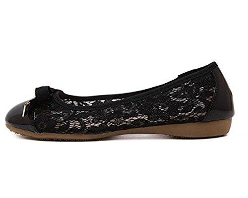 Minetom Damen Mode Sommer Bowknot Netzgarn Slip on Flach Schuhe Ballerinas Slippers Schwarz
