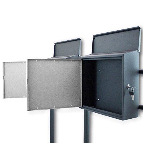BITUXX® Design Doppelstandbriefkasten Briefkastenanlage Seitenschloss und Zeitungsfach Dunkelgrau/Hellgrau - 3