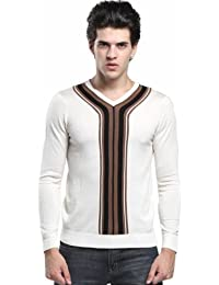 SSLR Men's Casual V Neck Jumpers Thin Wool Sweater