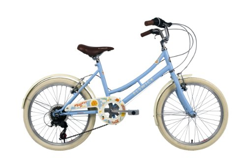 ElswickCherish Girls Mountain Bike Baby Blue 11 inch steel frame 6-speed v-brakes provide ideal braking performance co-ordinated full length chainguard