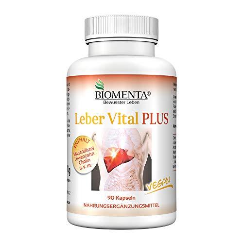 BIOMENTA LEBER VITAL PLUS | AKTION!!! | mit MARIENDISTEL, CHOLIN, LÖWENZAHNWURZEL, WERMUT, KURKUMA, ARTISCHOCKEN | Leber Vitamine: 90 St. LEBER KAPSELN VEGAN -