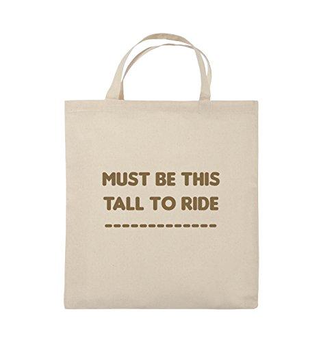 Comedy Bags - MUST BE THIS TALL TO RIDE - Jutebeutel - kurze Henkel - 38x42cm - Farbe: Schwarz / Pink Natural / Hellbraun