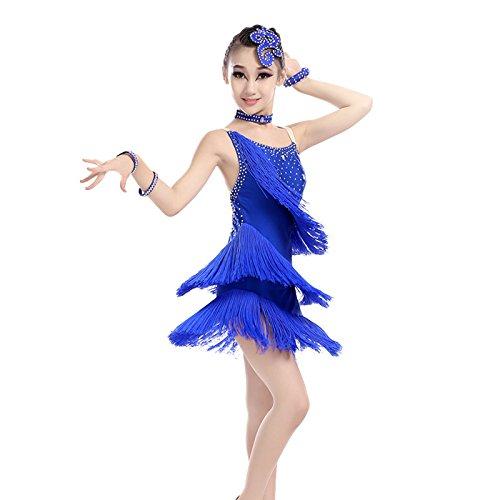 QCBC Kinder lateinische Tanz-Tassel-Kleid-Bügel-Kostüm-Tanz Paso Doble Tanzwettbewerb für Kinder Kleidung Übung Kleidung Anzüge (Blau, Rot, Rosa, Lila), Blue, - Paso Doble Kostüm